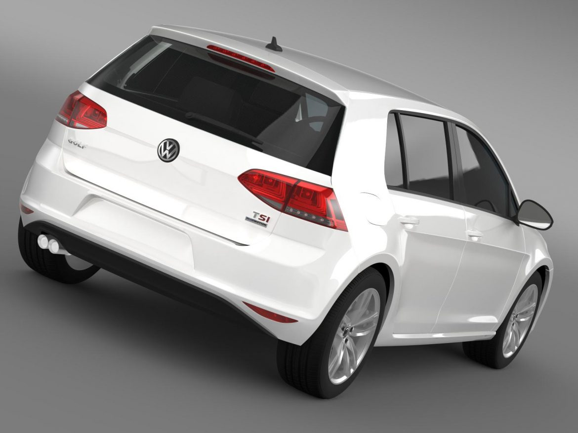 vw golf tsi bluemotion 5d typ 5g 2012 3d model 3ds max fbx c4d lwo ma mb hrc xsi obj 165066