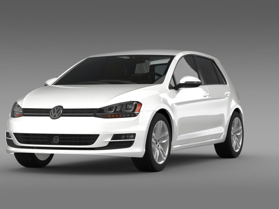 vw golf tsi bluemotion 5d typ 5g 2012 3d model 3ds max fbx c4d lwo ma mb hrc xsi obj 165068