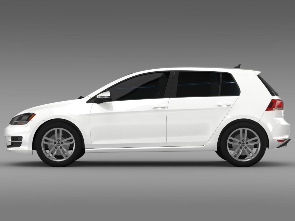vw golf tsi bluemotion 5d typ 5g 2012 3d model 3ds max fbx c4d lwo ma mb hrc xsi obj 165070