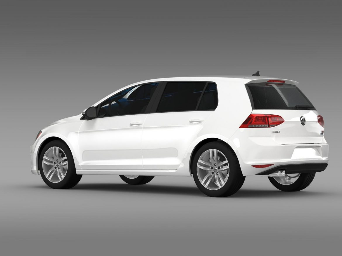 vw golf tsi bluemotion 5d typ 5g 2012 3d model 3ds max fbx c4d lwo ma mb hrc xsi obj 165071