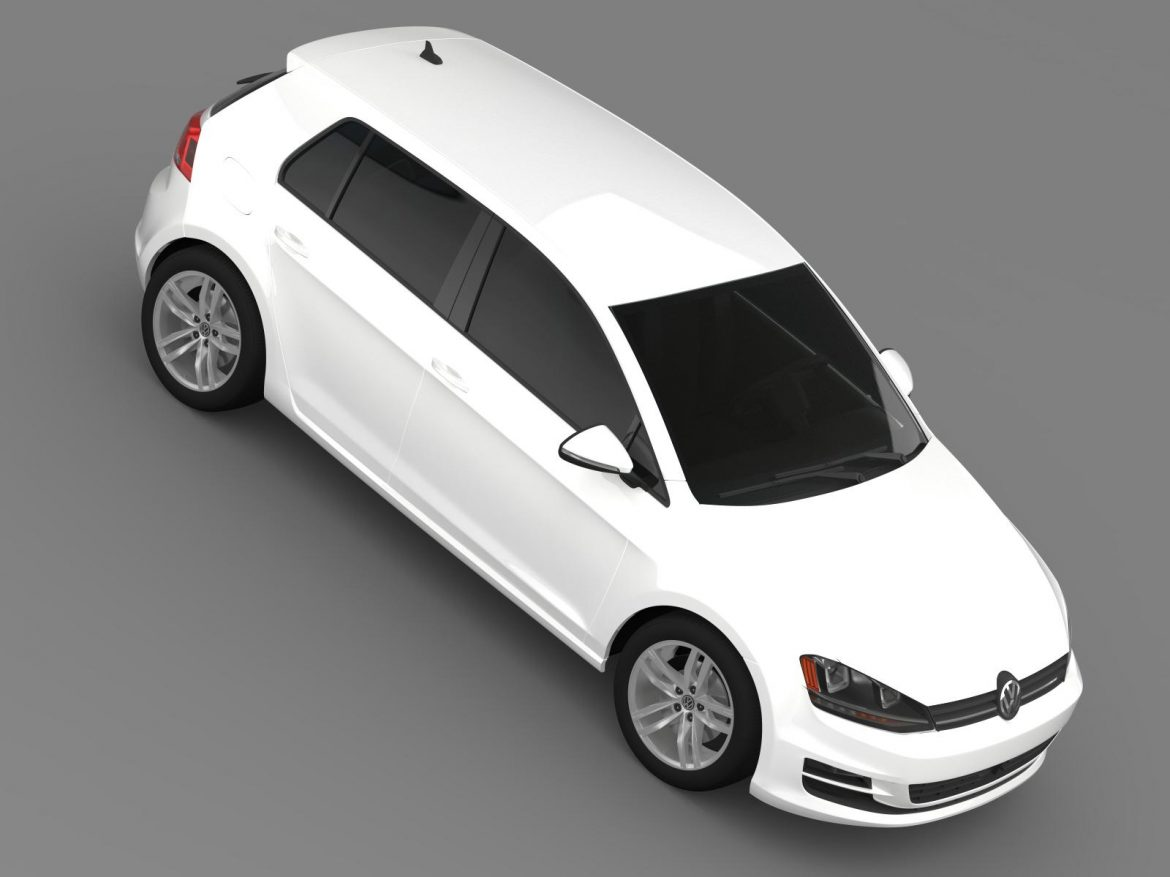 vw golf tsi bluemotion 5d typ 5g 2012 3d model 3ds max fbx c4d lwo ma mb hrc xsi obj 165076