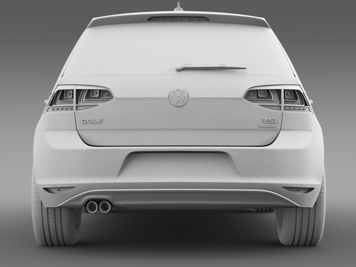 vw golf tsi bluemotion 5d typ 5g 2012 3d model 3ds max fbx c4d lwo ma mb hrc xsi obj 165078