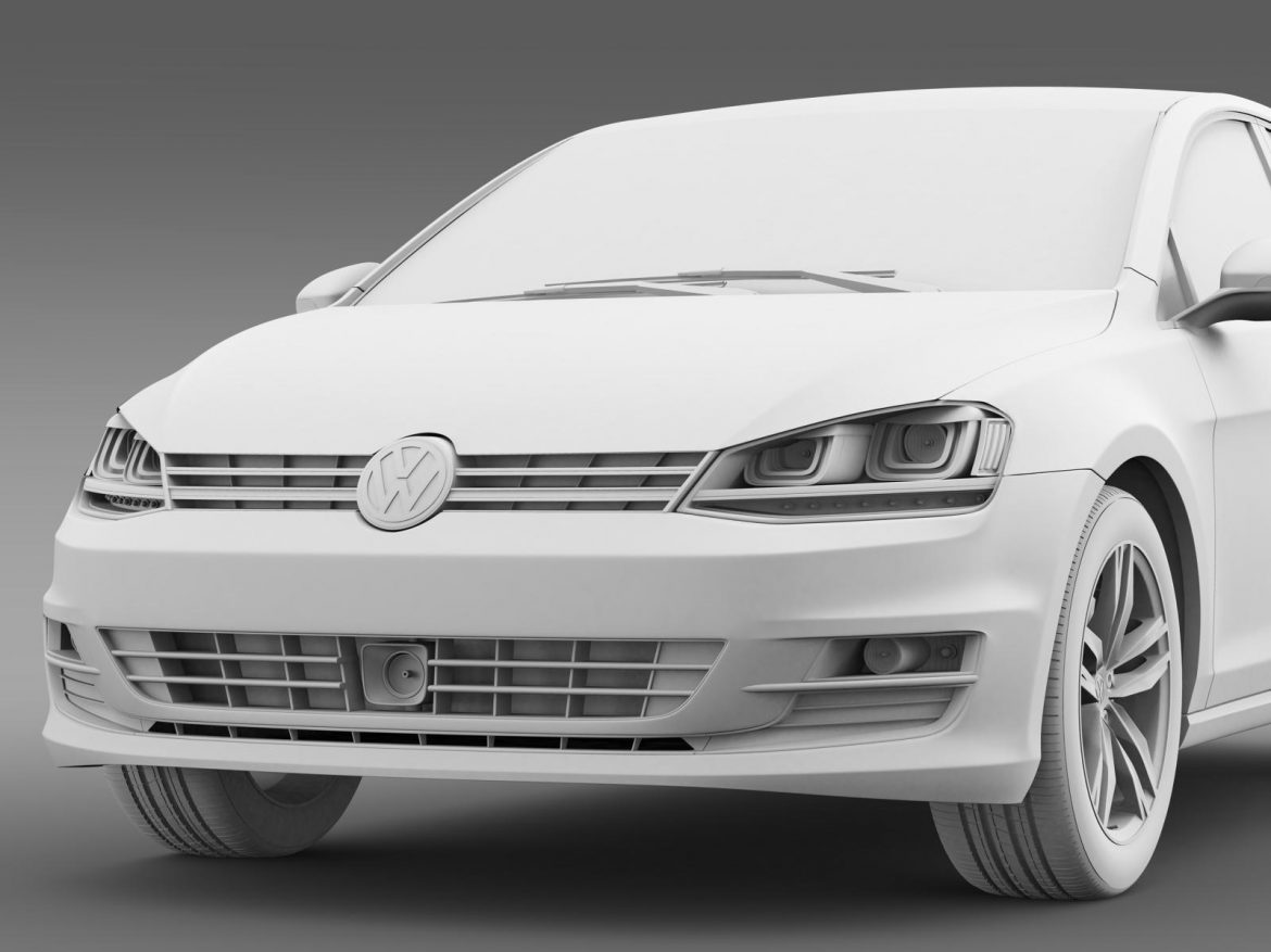 vw golf tsi bluemotion 5d typ 5g 2012 3d model 3ds max fbx c4d lwo ma mb hrc xsi obj 165079