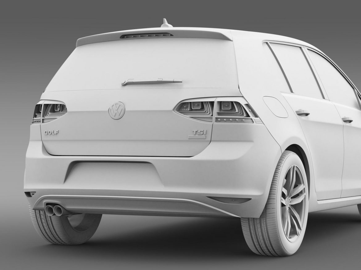 vw golf tsi bluemotion 5d typ 5g 2012 3d model 3ds max fbx c4d lwo ma mb hrc xsi obj 165080