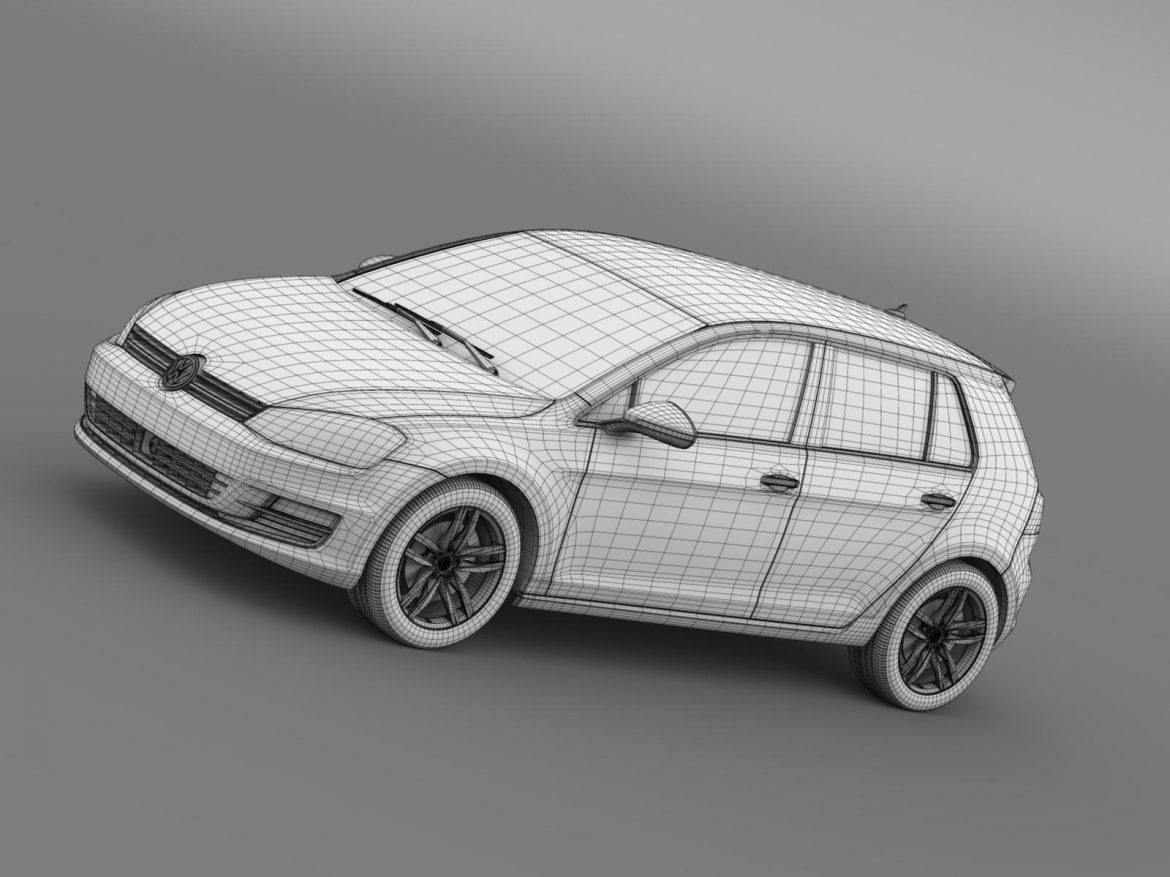 vw golf tsi bluemotion 5d typ 5g 2012 3d model 3ds max fbx c4d lwo ma mb hrc xsi obj 165081