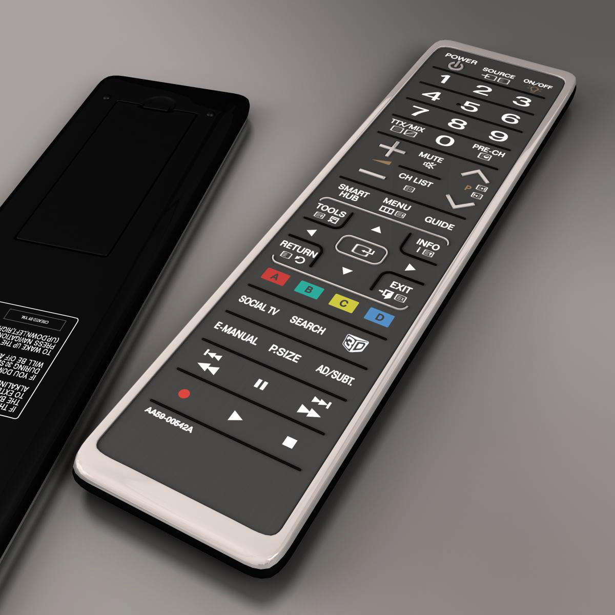 TV remote control 3d model 3ds max fbx ma mb obj 158388