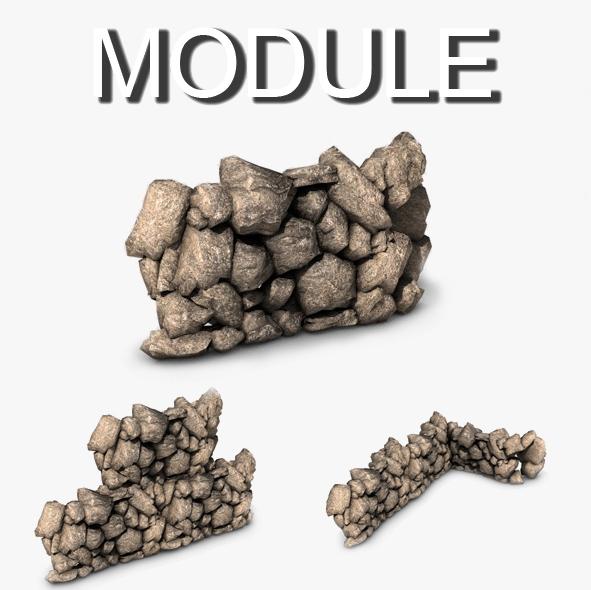 kaya divar modulu 3d modeli 3ds max fbx c4d obj 138606