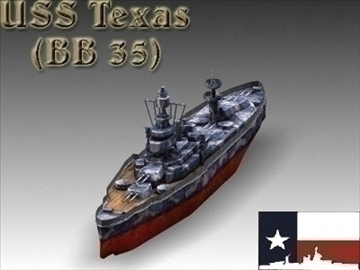 ww2 battleship texas uss bb 35 3d model 3ds max x lwo ma mb obj 111159