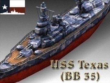 ww2 battleship texas uss bb 35 3d model 3ds max x lwo ma mb obj 111160