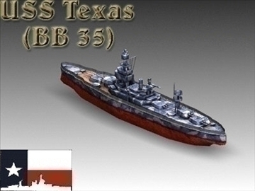 ww2 battleship texas uss bb 35 3d model 3ds max x lwo ma mb obj 111161