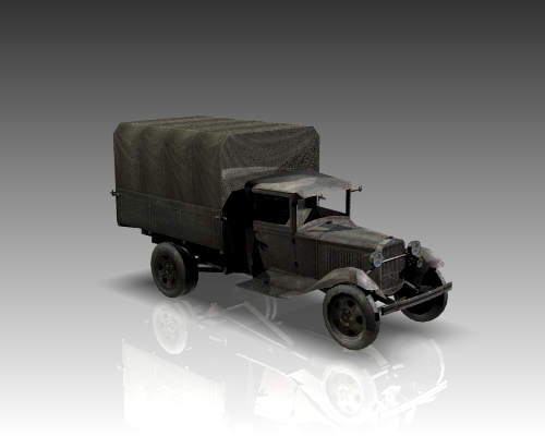 ww2 gaz aa soviet cargo truck. 3d model 3ds max x lwo ma mb obj 111142