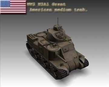 ww2 m3a1 grant american medium tank. 3d model 3ds max x lwo ma mb obj 101576