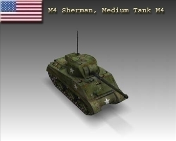 ww2 m4 sherman medium tank Model m4 3d 3ds max x lwo MA MB obj 111197