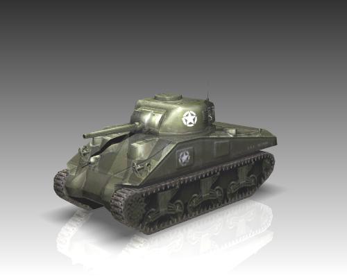 ww2 m4a1 sherman medium tank. 3d model 3ds max x lwo ma mb obj 111128