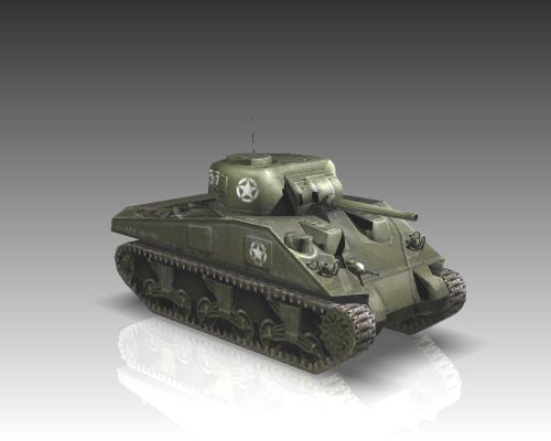 ww2 m4a1 sherman medium tank. 3d model 3ds max x lwo ma mb obj 111130