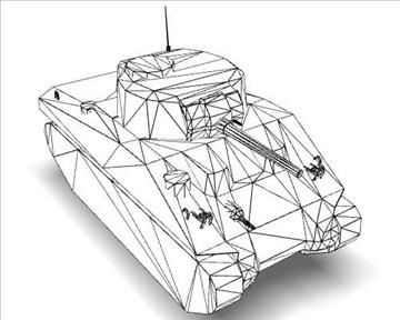 ww2 m4a1 sherman medium tank. 3d model 3ds max x lwo ma mb obj 111131