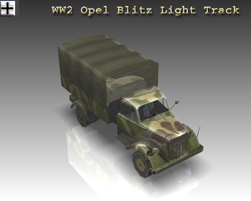 ww2 opel blitz light track. 3d model 3ds max x lwo ma mb obj 111132