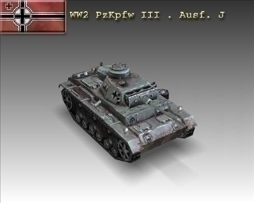 ww2 pzkpfw iii. ausf. j model 3d 3ds max x ar gyfer 101214
