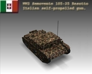 ww2 semovente 105 25 italian tank destroyer. 3d model 3ds max x lwo ma mb obj 101620