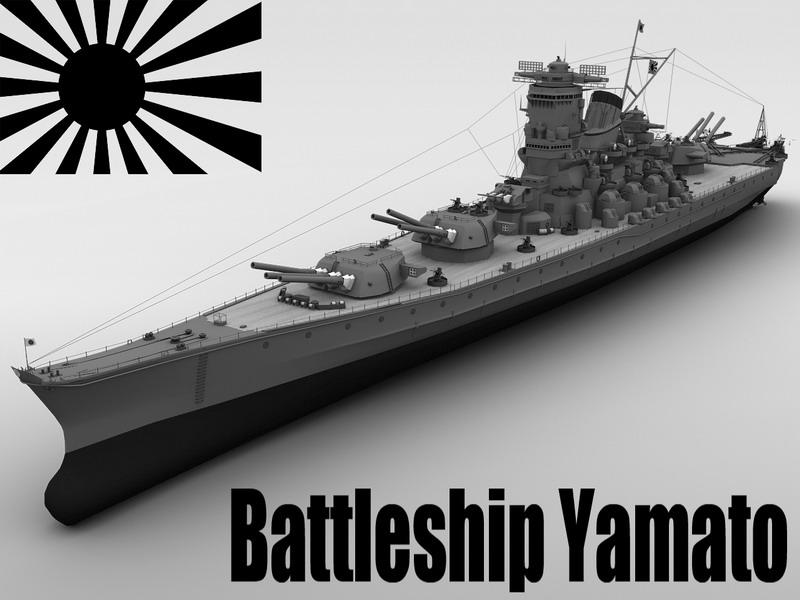 yamato bitevní loď 3d model 3ds max fbx obj 122294