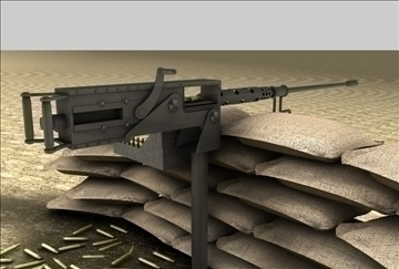 browning m2 machine gun 3d model 3ds c4d texture 86881