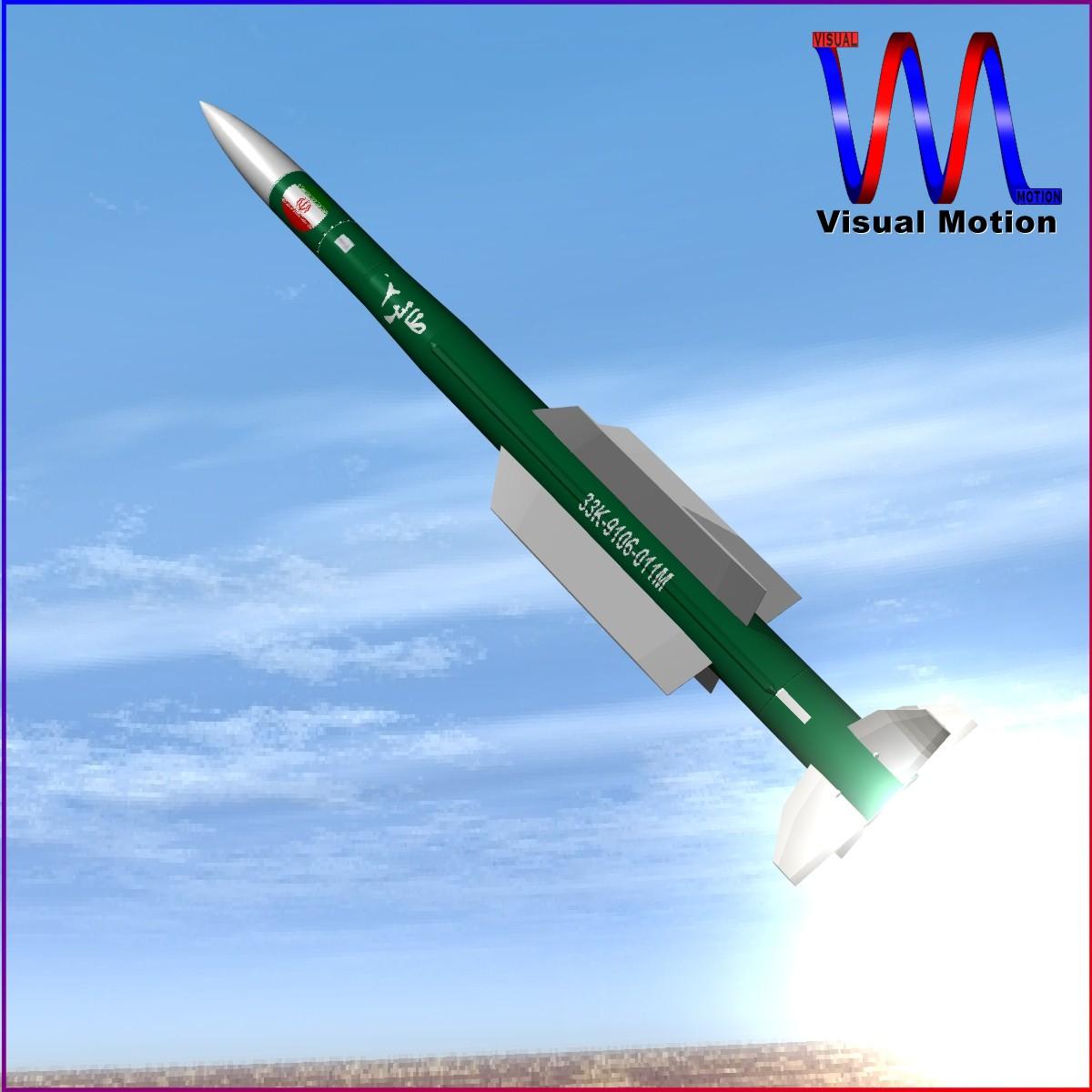 iranian taer-2 missile 3d model 3ds dxf x cod scn obj 149238