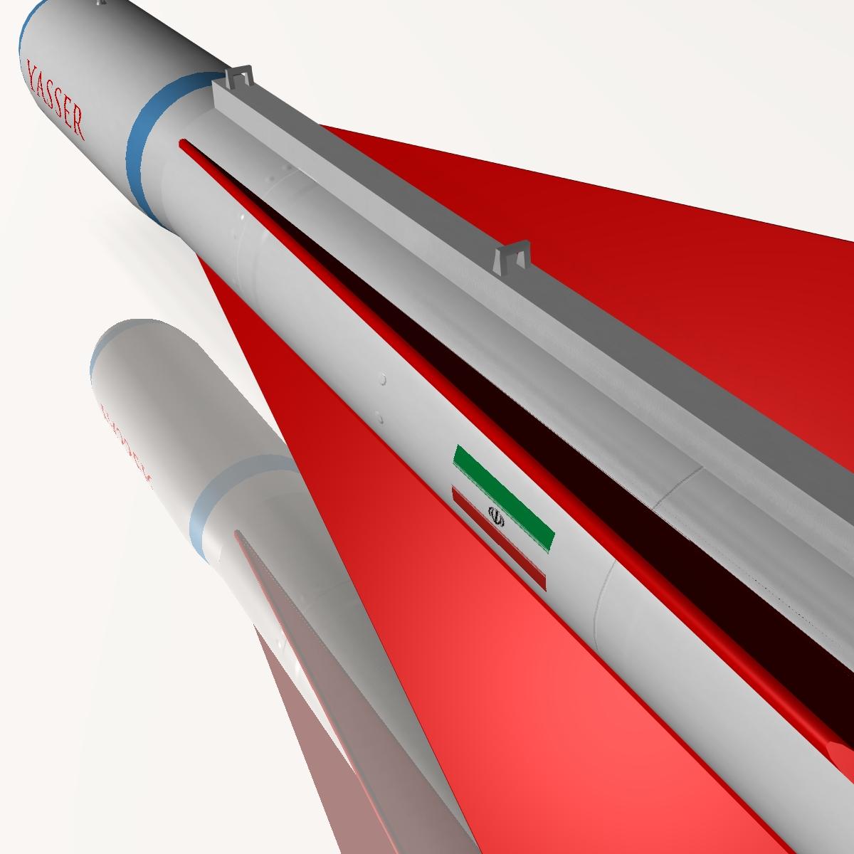 iranian yasser asm missile 3d model 3ds dxf cob x obj 150564
