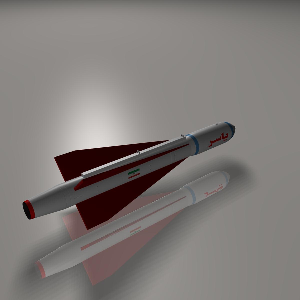 iran yasser asm raketi 3d modeli 3ds dxf cob x obj 150571