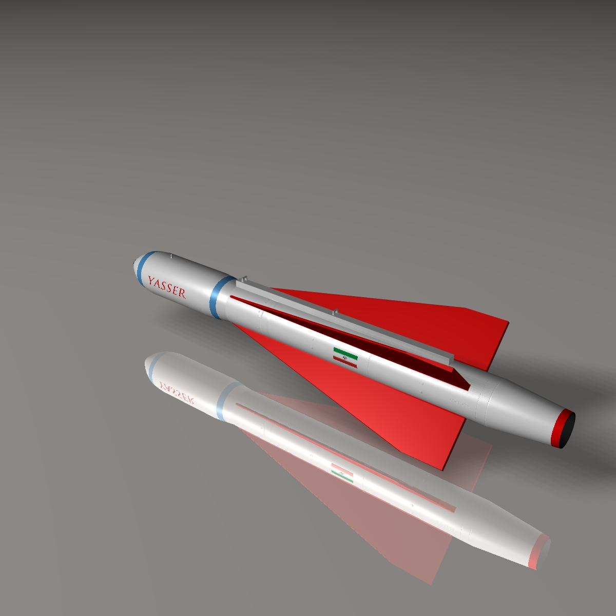 iranian yasser asm missile 3d model 3ds dxf cob x obj 150573
