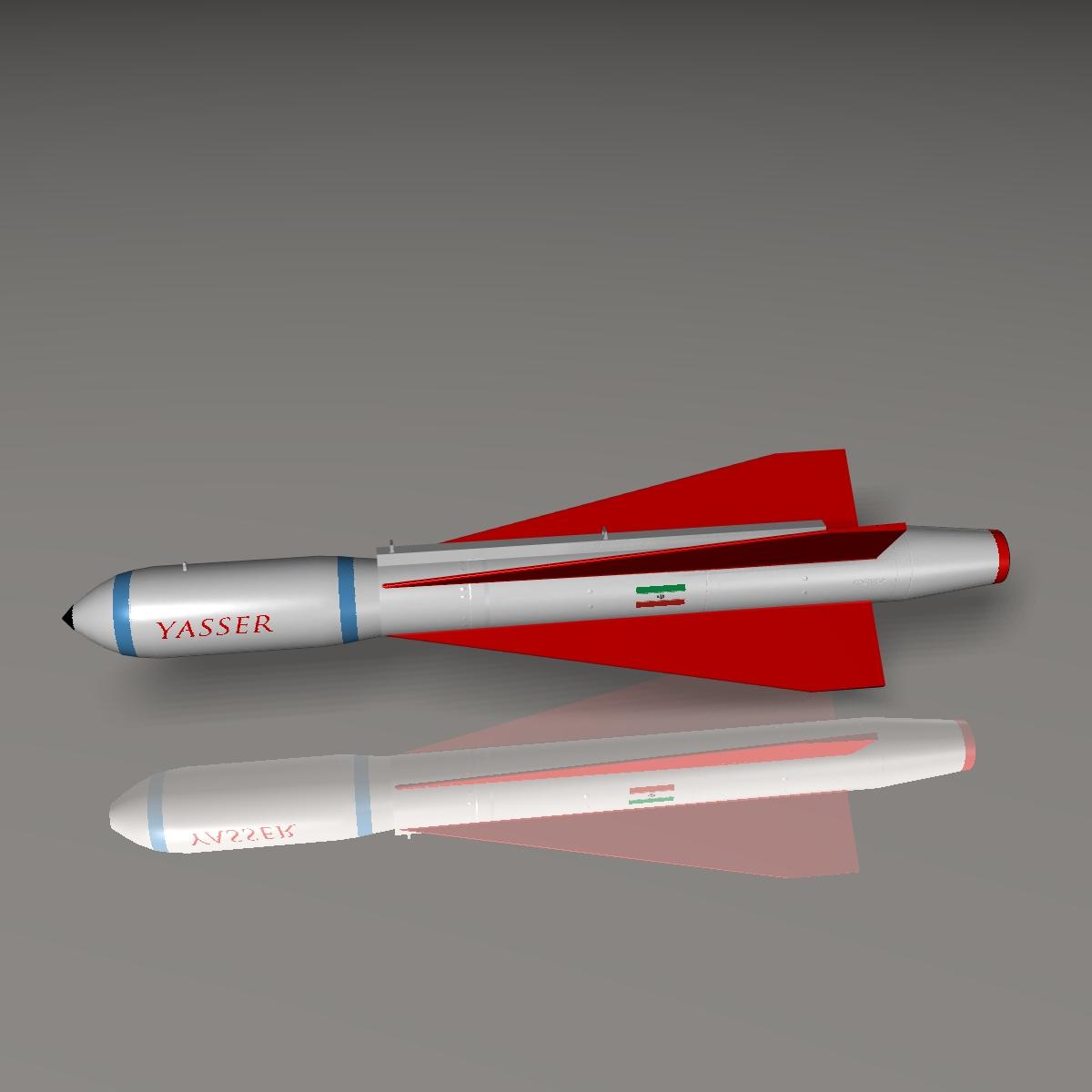 iranian yasser asm missile 3d model 3ds dxf cob x obj 150574