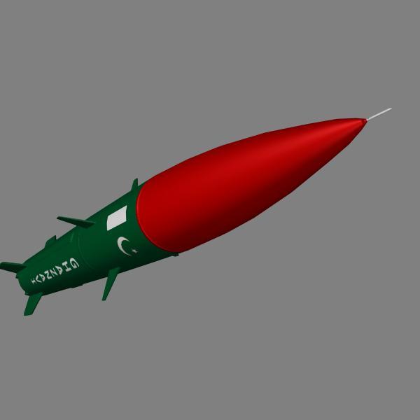 pakistan hatf-3 missile 3d model 3ds dxf cob x obj 140232