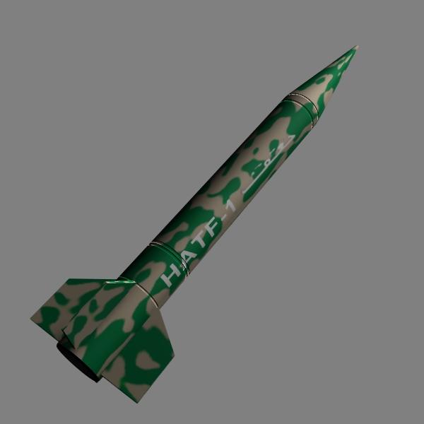 pakistan hatf-i bsrsm missile 3d model 3ds dxf cob x obj 140192