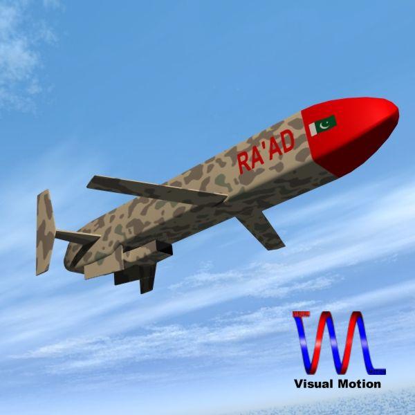 "pakistan hatf-viii ""ra'ad"" cruise missile 3d model 3ds dxf cob x obj 140243"