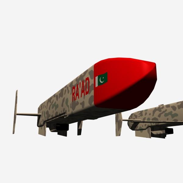 "pakistan hatf-viii ""ra'ad"" cruise missile 3d model 3ds dxf cob x obj 140246"