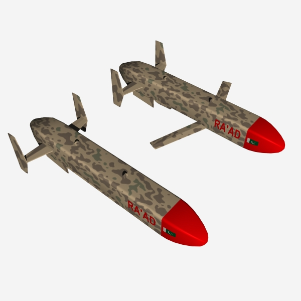 "pakistan hatf-viii ""ra'ad"" cruise missile 3d model 3ds dxf cob x obj 140247"