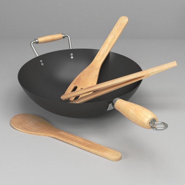wok and utensils 3d model 3ds fbx skp obj 116224