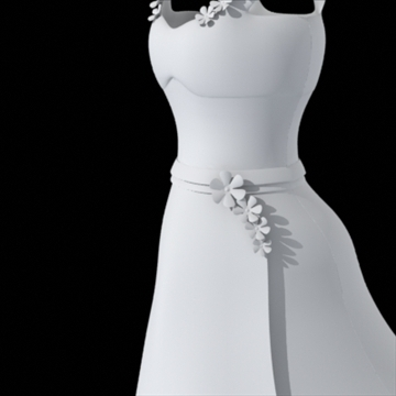 dress with flower details 3d model fbx lwo other obj 110382