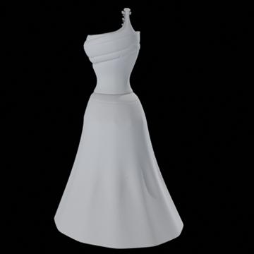 one shoulder dress 3d model fbx lwo other obj 98252