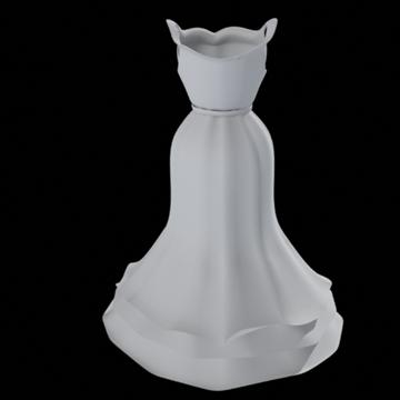 ruffle bottom dress 3d model fbx lwo other obj 98246